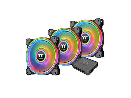 Thermaltake Riing Quad 14 RGB Radiator Fan TT Premium Edition 3 Pack/Case Fan, Color Negro