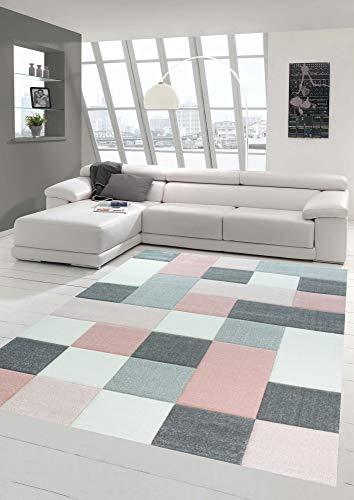 Designer und Moderner Teppich mit Karo Muster in Rosa Grau Creme Größe 120 cm Rund