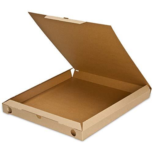 pack2go Pizzakarton Cuboxale, Pizzaschachtel kompostierbar braun - 32x32x3cm, 150 Stück