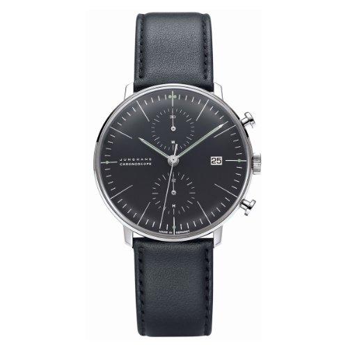 Junghans Herren-Armbanduhr XL Max Bill Chronoscope Chronograph Automatik Leder 027/4601.00