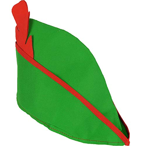 German Trendseller® Robin Hood - Mütze - Deluxe ┃ Rote Feder ┃ Weicher Filz - Grün + Feder ┃ Fasching - Karneval - Party ┃ Robin Hood Spitz Hut