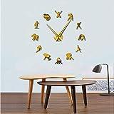 xtmyz Horloge Murale Bricolage Football Football Jeu Bricolage Géant Horloge Murale Rugby sans Cadre Grandes Aiguilles Aiguilles Définies par l'horloge Gardien De But Salle D'athlète