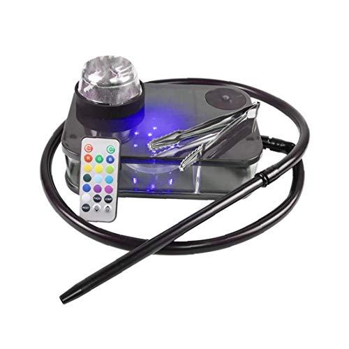 Moderne Acryl Huka Komplette Kit Portable Shisha Nargile Rauchen Wasserpfeife Mit Fernbedienung Led-licht-box (schwarz) Home Kitchen Tool