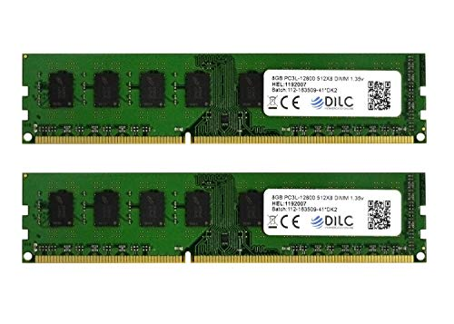DILC RAM Dimm DDR3 16GB (2x8GB) 1600Mhz PC3-12800 (240 Pin) 1.35v (Low Voltage) Memoria Computer Desktop