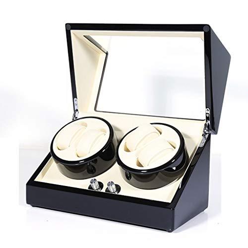 CHYOOO Caja de almacenamiento de reloj rectangular con devanadera de reloj 4+0, diseño silencioso y antimicrobiano, pintura de piano, unisex, caja de almacenamiento para reloj (color: A)