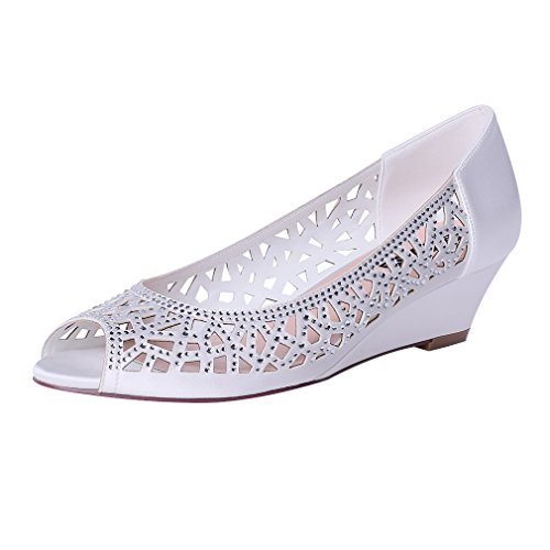 ERIJUNOR E1606 Women Peep Toe Pumps Low Heel Wedges Sparkle Rhinestone Wedding Bridal Shoes Ivory Size 9.5
