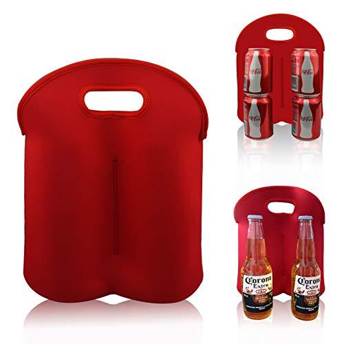 Tragetasche für Bierflaschen oder 4 Bierdosen, isoliert, Neopren, Rot