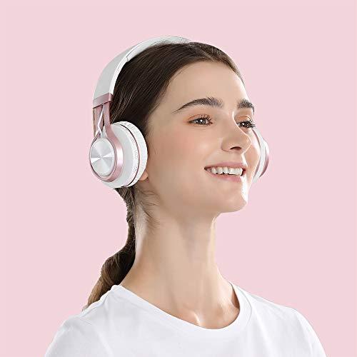 Baseman Wireless Bluetooth Headphones with Mic, On Ear Lightweight Foldable Wired Headphones, Hi-Fi Stereo Earphones Deep Bass Over Ear Headphone for Music Computer Laptop TV PC Kids(Pink White) 6