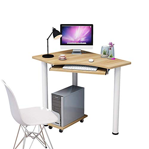 VBARV Corner Computer Desk,Wood Compact Home Office Desk,Laptop PC Table Writing Study Table,Workstation with Smooth Keyboard Tray & Storage Shelves