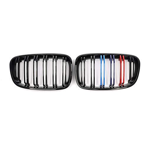 MYlnb Für BMW F20 F21 1er 2012-2014, Zwei Linien glänzend schwarz M Farbe Front Nierengitter