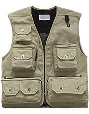 Pangocho JINchao-Fishing vest buitenshuis journalist's vest jas, heren mesh ademend opengewerkte vissersvest, plus grootte voor buitenshuis stream vissen (kleur: geel, maat: 3XL)