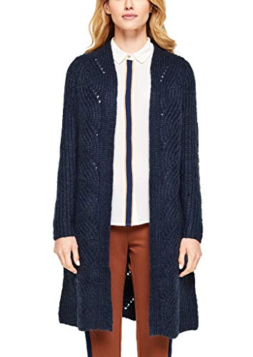 s.Oliver BLACK LABEL Damen Long-Cardigan mit Zopfmuster marine S
