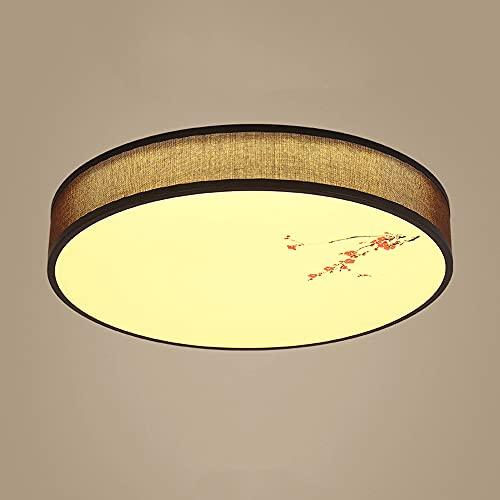 LXIANG Luces de techo de tela china, luces de dormitorio de estilo retro circulares marrones, luces de interior de instalación empotrada LED, lámpara de techo de sala de estar con atenuación de tres c