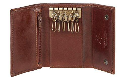 Visconti 1178 Genuine Leather Mens Slim Key Case Wallet/Key Chain Wallet/Key Holder Wallet (Brown)