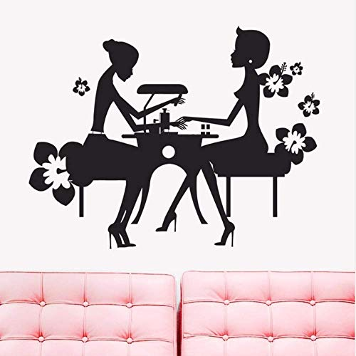 Makeyong Muursticker Vinyl Beauty Nagel Salon Muursticker Schoonheid Nagel Manicure Shop Venster Decor Verwijderbare Nagel Shop Muur Kunst muurschildering 42X43Cm
