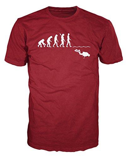Scuba Diver Evolution Funny T-shirt (XL, Brick Red)