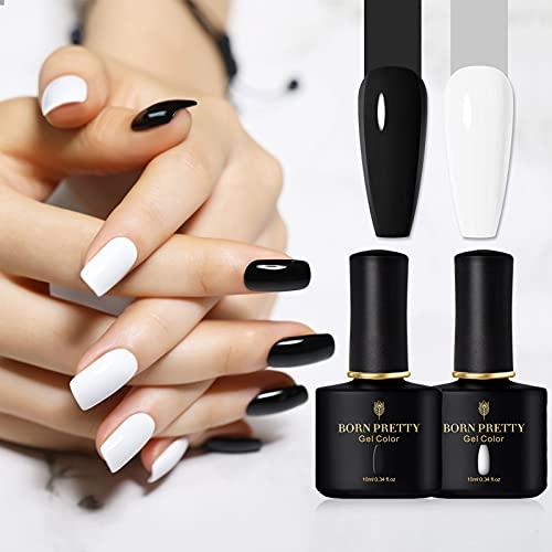 BORN PRETTY Kit de esmalte de uñas en gel colores blanco y negro