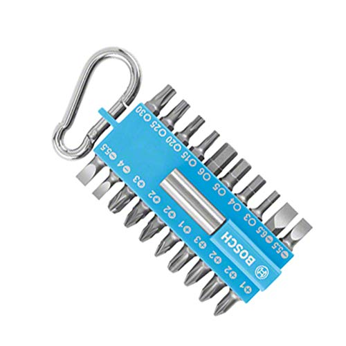 Bosch Set de puntas de 21 piezas (con soporte de puntas universal, mosquetón, accesorio para destornilladores eléctricos), color Azul