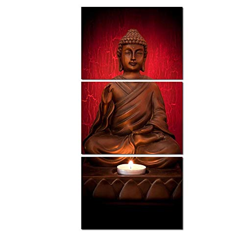 Wall Decor 3 Pieces Modular Poster Framework Pictures Home 3 Panel Buddha Candle Hd Printed Modern Canvas Painting Wall Art Decoration Living Room