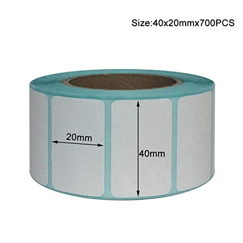 Etiquetas de envío de 20x10 mm: etiqueta de código de barras 700 por rollo más fuerte y más gruesa: franqueo térmico sin BPA, etiqueta en blanco de supermercado, 40x20 mm-700 piezas