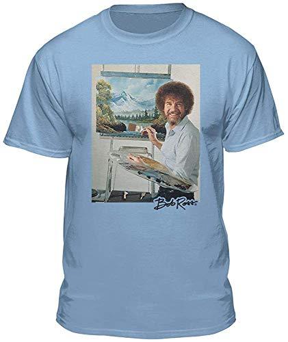 Teelocity Herren T-Shirt Bob Ross Foto Gr. S, hellblau
