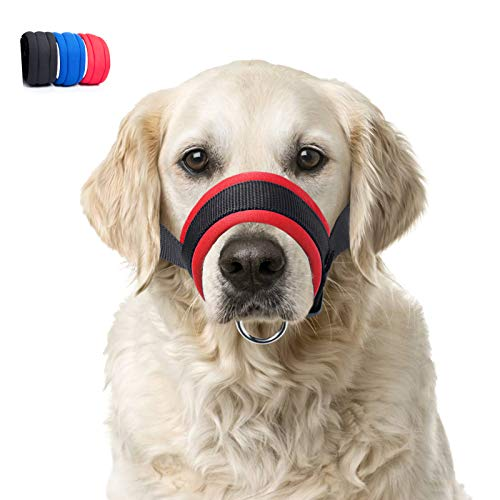 Dog Muzzle with Soft Fabric for Small, Medium and Large Dogs, Anti Biting, Chewing, Adjustable, Breathable(XL,Red)