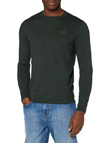 Superdry Mens ORANGE Label Crew Pullover Sweater, Black Cyprus Marl, Large