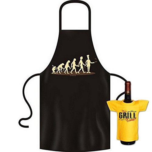 Kochschürze Evolution Koch Grill Bistro Küchenschürze Schürze Set bedruckt mit Mini Flaschenshirt