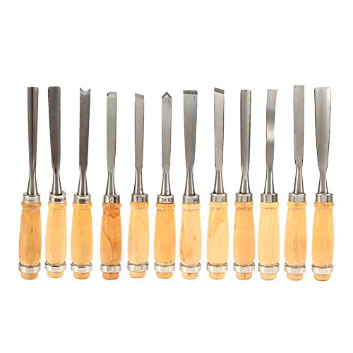 "Alikeke Professional 12 Piece Wood Carving Chisel Set 8"" Sharp Hand Woodworking DIY Tools Knife Cutter Great for Beginners Multi-Shape"
