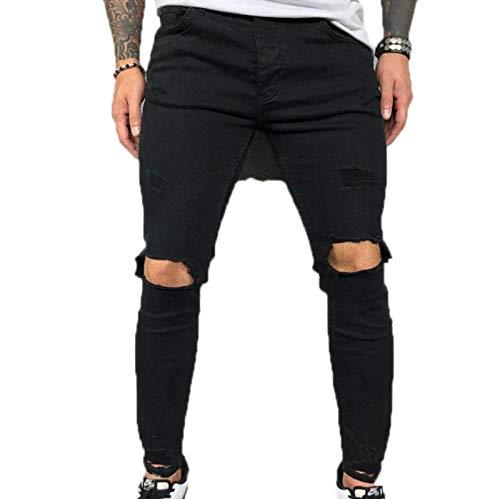 KEEPWO Pantalones Vaqueros clásicos de Corte Regular para Hombre Pantalones de Mezclilla Rasgados de algodón