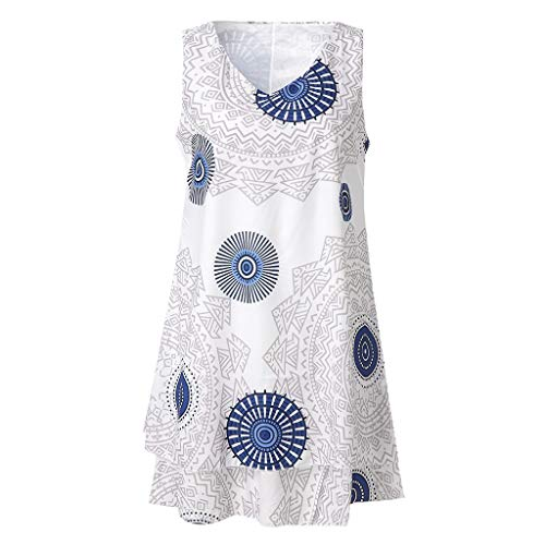 TYTUOO Frauen Midi Kleid Plus Size Print Midi Kleid Loose Shift Sleeveless Tank Vest Sun Dress
