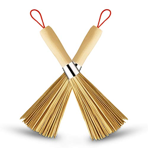 Sansheng 2Pack Frying pan Brush, Kitchen Cleaning Brush, Bamboo Kitchen pan Brush, FPR pan Handle Cleaning Brush, Bamboo pan Brush, Pot Brush, Pot Brush Cleaning