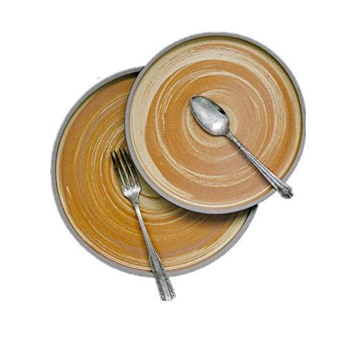 DJY-JY Platos de cerámica retro Golden Age Series Creative Stoneware Bowl Cubertería Oro 8.75 pulgadas plato medio