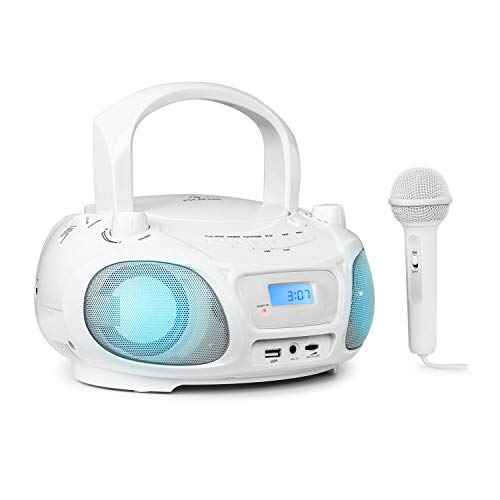 auna Roadie Sing CD MP3 Karaoke Player Stereoanlage Boombox Sing A Long Funktion USB Port UKW Radio Bluetooth 30 LED Beleuchtung Netz und Batterie Betrieb Mikrofon weis