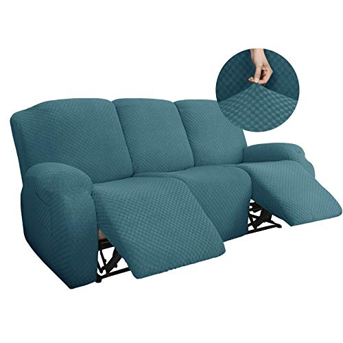 YEMYHOM 8 Pieces Stretch Recliner Sofa Cover Latest Jacquard Reclining Couch Cover with Side Pocket Anti-Slip Fitted 3 Cushion Furniture Slipcovers with Elastic Bottom (Sofa Recliner, Peacock Blue)