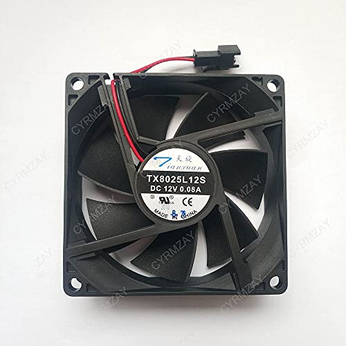 CYRMZAY Compatible for TX8025L12S DC 12V 0.08A 80 * 80 * 25MM 2Pin Cooling Ventilador
