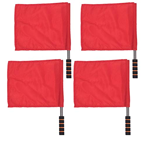 BESPORTBLE 4 Stück Handzeichen Flaggen Edelstahl Stange Match Einfarbig Kommando Flagge Schiedsrichter Flagge für Fußball Leichtathletik (Rot)