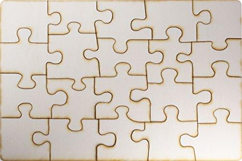 Kopierladen Holzpuzzle selbt gestalten und bemalen, leeres Puzzle aus unbehandeltem Schichtholz, Blanko-Puzzle, 20 Teile, ca. 290 x 195 mm, inkl. Puzzlevorlage