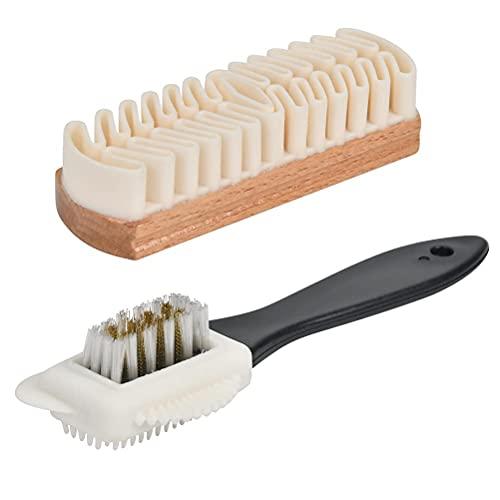 N\A Wildleder-Schuhbürste, weiche Schuhbürste, Leder-Schuhbürsten-Set (mit Aufbewahrungstasche) für die Reinigung von Wildleder-Schneestiefeln, Kleidung, 2 Stück