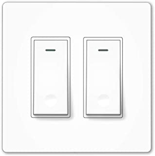 MOES WiFi Smart Light Switch,2 Gang No Screw Panel Smart Life/Tuya App Wireless Remote Control Wall Switch Timer for Lights,Compatible with Alexa,Google Home and IFTTT,No Hub required