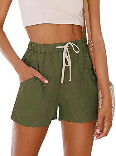 NIMIN Womens Teen Girls Casual Drawstring Elastic Waist Shorts Comfy Solid Color Summer Beach Lightweight Cotton Short Pants with Pockets Army Green Small