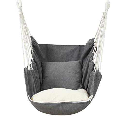 QPY Hammock Chair Relax Hanging Swing Chair Rocking Chair, with Cushion and Pillow Outdoor Hammock for Outdoor Home Bedroom Patio Yard Garden