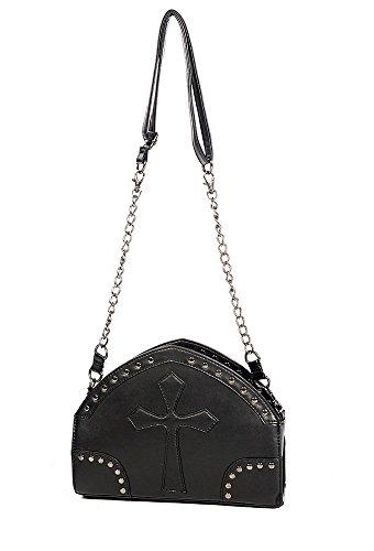 Bolso de mano la ropa en de piel sintética prohibido PVC diseño gótico cadena de bolsa para raquetas de tenis de Cruz