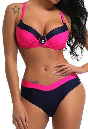 SEASUM bikini costume da bagno due pezzi spiaggia con pad cuscinetto imbottitura nuoto rosa taglia S