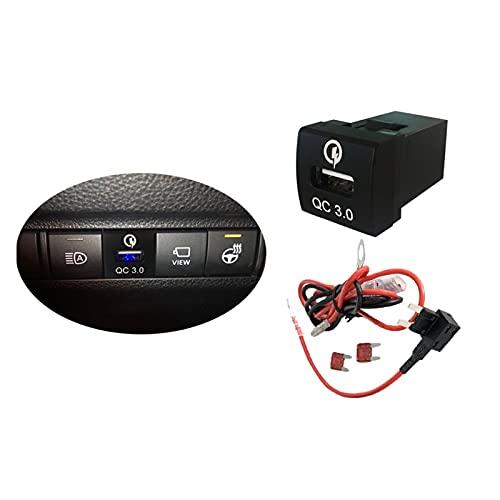 LMMY Ajuste para Toyota Camry Corolla Quick 3 cargador USB interruptor de alimentación teléfono adaptador de carga para Rav4 2019 2020 ajuste para Land Cruiser Prado 2020