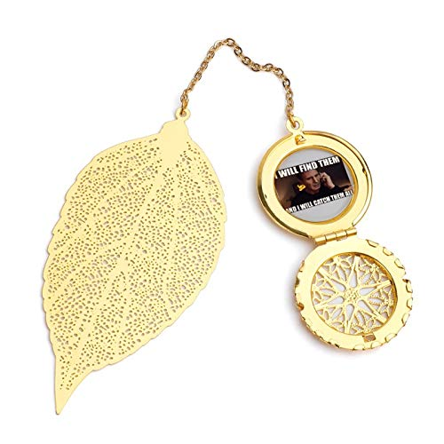 Monster of The Pocket Go Liam Neeson Meme Exquisite Leaf Bookmark, Metal Leaf and Exquisite Pattern Pendant