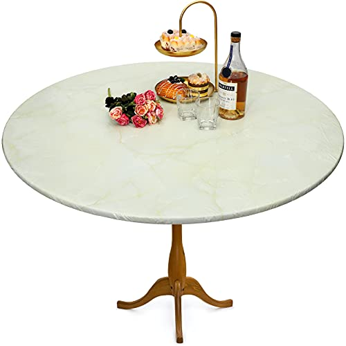 Marble Round Elastic Edge Fitted Vinyl Table Cover Round Vinyl Fitted Tablecloth Round Marble Fitted Tablecloth Protector Waterproof Fitted Oilcloth for Round Table up 40 to 44 inch Diameter