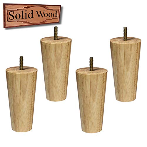 Sopicoz Wood Furniture Legs Set of 4 Sofa Legs 5 inch Clear Coated Tapered Legs for Couch Bed…