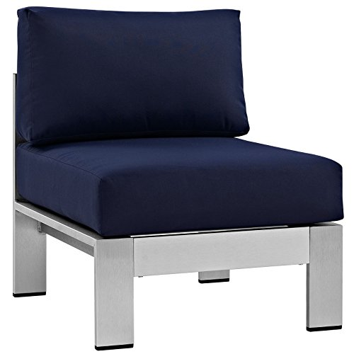 Modway Shore Aluminum Outdoor Patio Armless Chair in Silver Navy