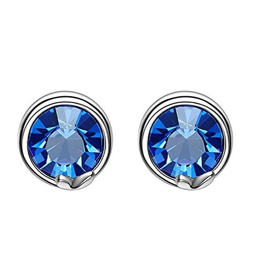 Amody Pendientes redondos plata esterlinas para Pendientes Circonita azul de las mujeres